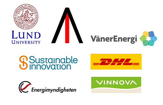 Logotyper från samarbetspartners: Lunds universitet, Elonroad, Vänerenergi, Sustainable innovation, DHL, Energimyndigheten, Vinnova